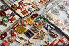 Mosca, Russia - possono 07 2017 Distintivo commerciale dei periodi dell'URSS fotografie stock