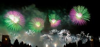 Mosca, Russia - 25 settembre 2016: Fuochi d'artificio al festival Fotografia Stock Libera da Diritti