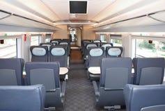 MOSCA, 18 SETTEMBRE, 2011, mostra EXPO1520: Il treno interno della nuova generazione del salone ad alta velocità moderno del tren Fotografia Stock