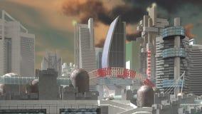 Mosca sobre ciudad de la ciencia ficción libre illustration