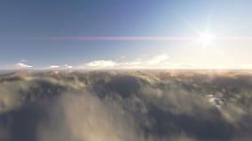 Mosca sobre las nubes y el cielo azul