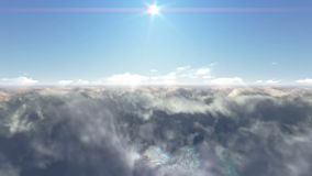 Mosca sobre las nubes y puesta del sol almacen de video