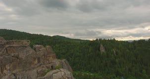 Mosca sobre rocas sobre el bosque montañas almacen de metraje de vídeo