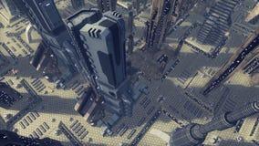 Mosca sobre uma cidade futurista do scifi rendição 3d Imagens de Stock Royalty Free