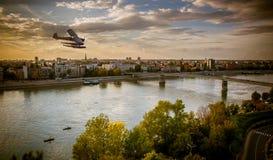 Mosca sopra Novi Sad Fotografia Stock