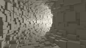 Mosca a través de un túnel blanco sin fin almacen de metraje de vídeo