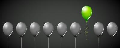 Mosca verde del globo lejos de los globos negros en diverso diseño de concepto del fondo negro stock de ilustración