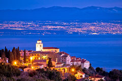 Moscenice skyline and Kvarner bay evening view Stock Photography