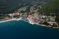 Moscenicka draga bay and long natural grit sand beach air photo in Croatia Stock Photography