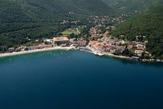 Moscenicka draga bay and long natural grit sand beach air photo in Croatia Stock Photos