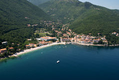 Moscenicka draga bay and long natural grit sand beach air photo in Croatia Stock Photography