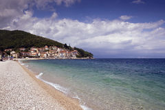 Moscenicka Draga beach. Scenic view of picturesque beach with Moscenicka Draga village in background, Croatia Stock Images