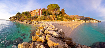 Moscenicka Draga village turquoise beach. At sunrise panoramic view, Opatija riviera of Croatia Stock Photography