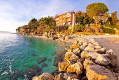 Moscenicka Draga village turquoise beach Royalty Free Stock Photos