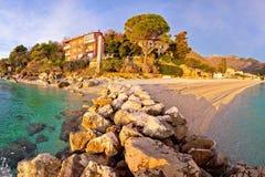 Moscenicka Draga village turquoise beach Royalty Free Stock Photo