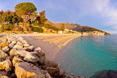 Moscenicka Draga village turquoise beach. At sunrise panoramic view, Opatija riviera of Croatia Royalty Free Stock Images