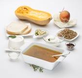Moschata för Cucurbita för Butternutsquash med olika ingredienser Arkivfoto