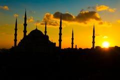 Moschea blu al tramonto immagini stock