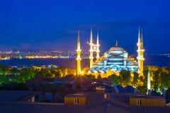 Moschea blu al tramonto a Costantinopoli, Turchia, Fotografie Stock Libere da Diritti