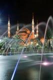Moschea blu alla notte 01 Fotografia Stock Libera da Diritti