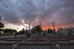 Moschea blu con il tramonto a Costantinopoli Maggio 2016 Immagini Stock Libere da Diritti