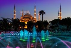 Moschea blu illuminata Fotografia Stock Libera da Diritti