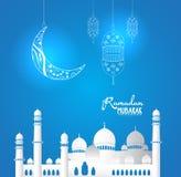 Moschea crescente della siluetta e della luna per il fondo del Ramadan Fotografia Stock Libera da Diritti