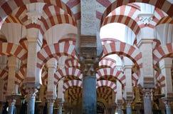 Moschea del dettaglio di arché e delle colonne del dettaglio di Cordova Fotografia Stock