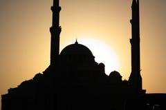 Moschea della siluetta Fotografia Stock