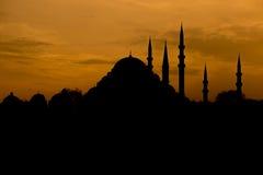 Moschea della siluetta Fotografia Stock Libera da Diritti