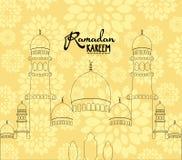 Moschea della siluetta per il fondo del Ramadan Fotografie Stock