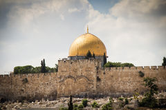 Moschea di aqsa di EL, con il Golden Gate su una priorità alta, Gerusalemme, Israele Fotografia Stock Libera da Diritti