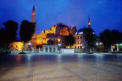Moschea di Hagia Sophia alla notte Fotografie Stock