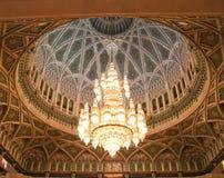 Moschea di Qaboos del sultano grande, interiore, cupola fotografie stock libere da diritti