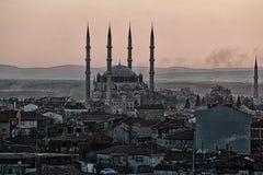 Moschea di Selimiye nel tramonto della nebbia fotografia stock libera da diritti
