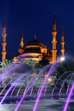 Moschea e fontana blu Fotografia Stock