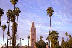 Moschea e minareto di Koutoubia Fotografie Stock Libere da Diritti