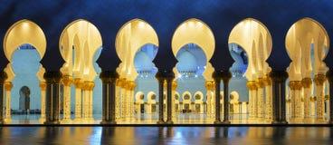 Moschea panoramica alla notte Fotografia Stock Libera da Diritti