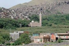 Moschea, villaggio di Imlil e valle, alte montagne di atlante, Marocco Fotografia Stock Libera da Diritti