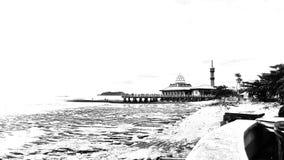 Moschee auf Strand lizenzfreie stockbilder