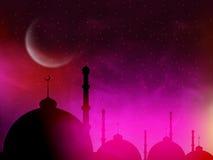 Moschee in der Nacht für islamische Festivalfeier Lizenzfreie Stockfotografie