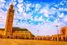 Moschee Hassan II auf dem Strand von Casablanca bei Sonnenuntergang, Marokko Lizenzfreie Stockfotos
