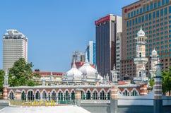 Moschee Masjid Jamek, die im Herzen Kuala Lumpur-Stadt sich befindet Stockbilder