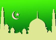Moschee mit Mond und Sternen Stockfotografie