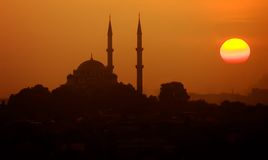 Moschee-Sonnenuntergang stockfoto