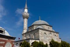 Moschee und türkische Markierungsfahne Stockfotos