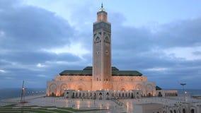 Moschee von Hassan II nachts, Casablanca stock video