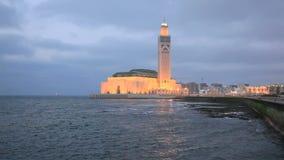 Moschee von Hassan II nachts, Casablanca stock video footage