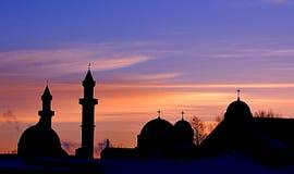 Moscheen-Kirchen-Sonnenaufgang Stockbilder