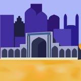 Moscheen silhouettieren auf blauem Nachthintergrund Stockfotos